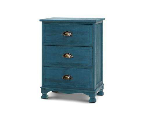 Artiss Three Drawer Bedside Table Vintage - Blue