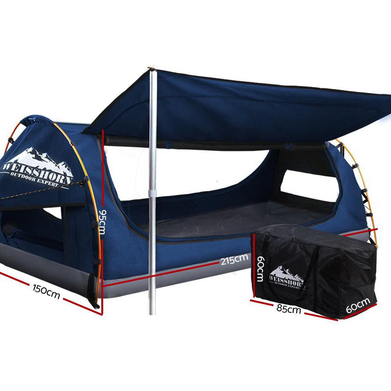 Weisshorn Double Swag Camping Swags Canvas Free Standing Dome Tent Dark Blue