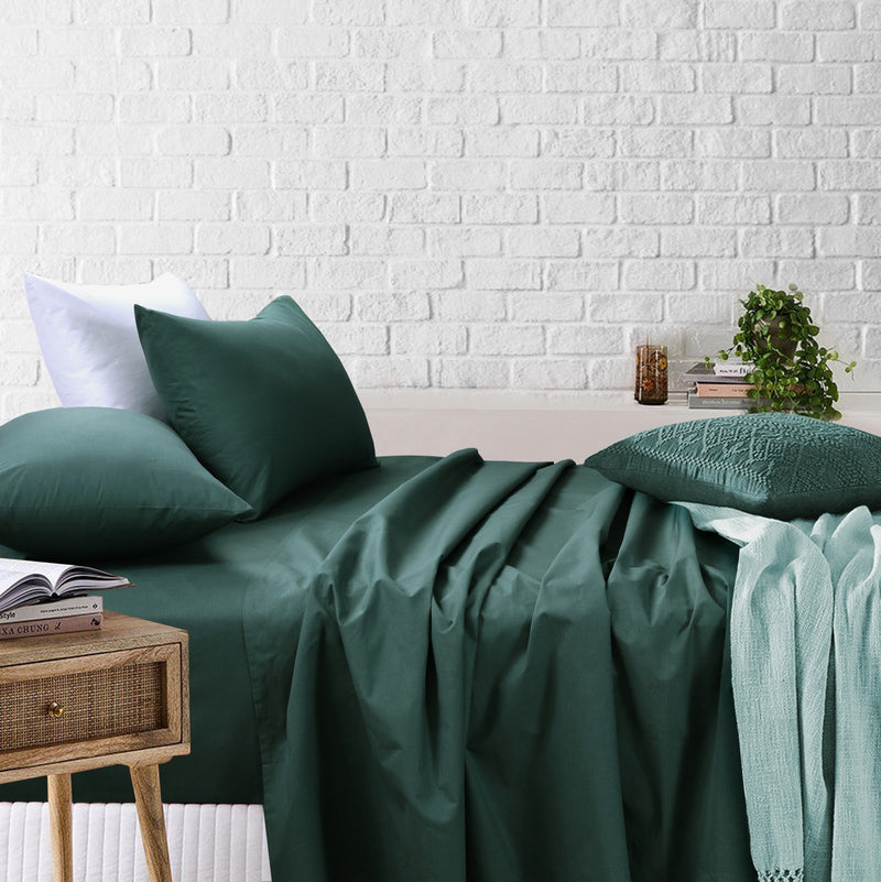 Amsons Sage Bedsheets Set- Flat & Fitted Sheets With Pillowcases