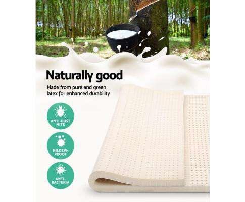 Giselle Bedding Pure Natural Latex Mattress Topper 7 Zone 7.5cm