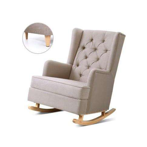 Artiss Rocking Armchair Feeding Chair Beige Fabric Accent Chair-Accent Chair-Artiss-Beige-Big Bedding Australia