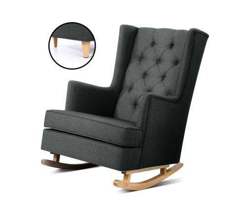 Artiss Rocking Armchair Feeding Chair Fabricl Accent Chair - Grey, Charcoal & Beige