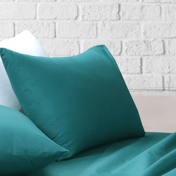 Amsons Teal Bedsheets Set- Flat & Fitted Sheets With Pillowcases