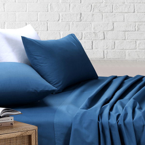 Amsons Blue Bedsheets Set- Flat & Fitted Sheets With Pillowcases