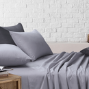 Amsons Light Grey Bedsheets Set- Flat & Fitted Sheets With Pillowcases