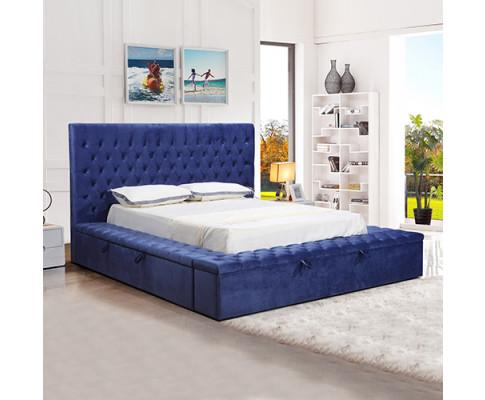 Anna Bedframe  Velvet Fabric Blue