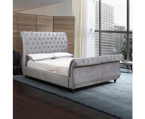 Elsa Bedframe Velvet Fabric Navy Grey