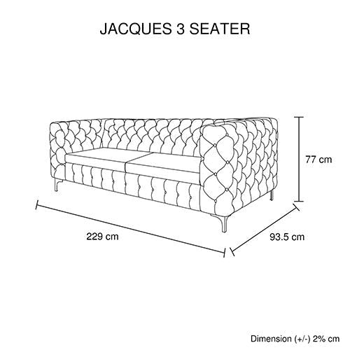 Jacques 3 Seater Black Colour