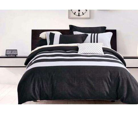 Luxton Black White Striped Quilt Cover Set