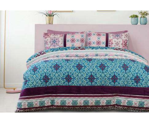 Luxton Anemone Velvet Panel Embossed Quilt Cover Set