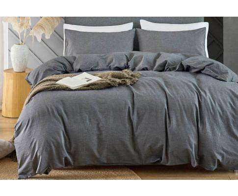 Grey Vintage Washed Cotton Quilt Cover Set(3PCS)