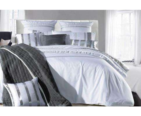 Luxton White Striped Sequins Quilt Cover Set