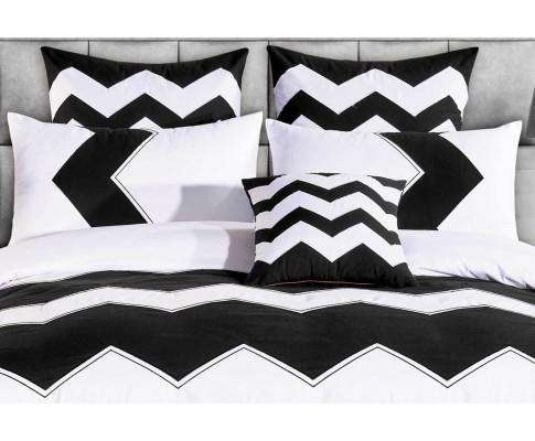 Luxton Black White Zig Zag Quilt Cover Set