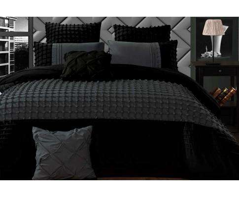 Luxton Stone Grey Cross Pintuck Quilt Cover Set