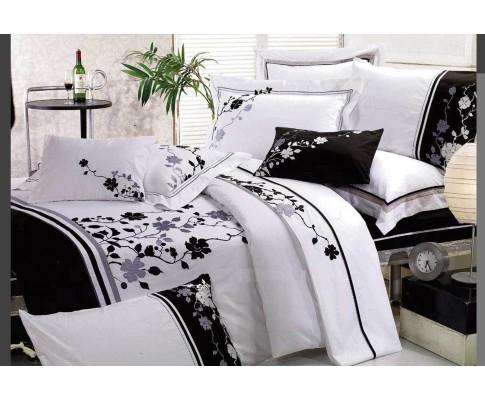 Luxton Embroidery Tree and Leaf Pattern White Quilt Cover Set (3PCS)