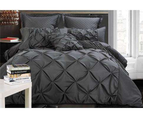 Luxton Charcoal Diamond Pintuck Quilt Cover Set