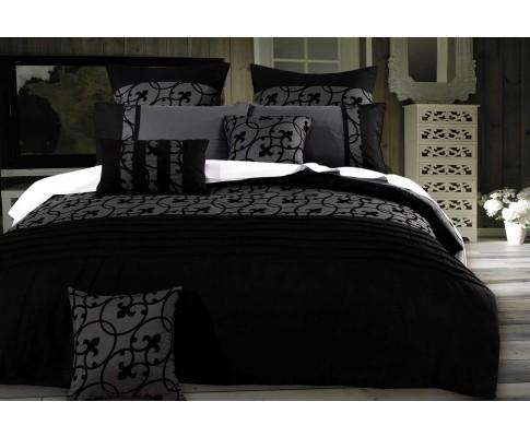 Luxton Charcoal Black Flocking Quilt Cover Set
