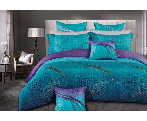 Luxton Turquoise Aqua and Purple Quilt Cover Set