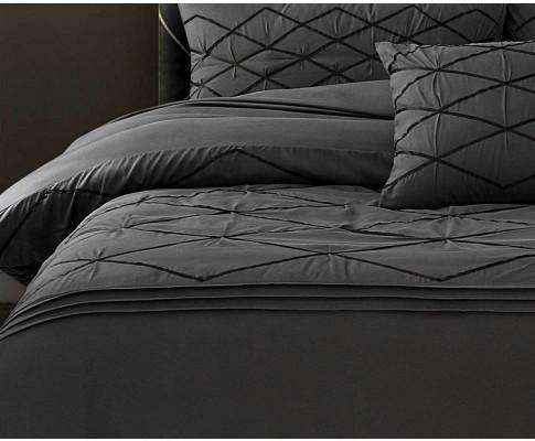 3pcs Embroidered Grey Quilt Cover Set