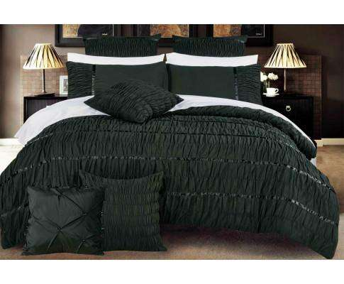 Luxton Black Horizontal Cross Weave Quilt Cover Set