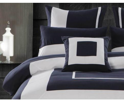 3pcs Navy Blue Border Striped Quilt Cover Set(3PCS)