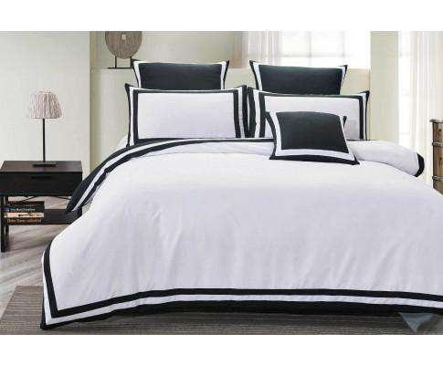 Charcoal and White Square Pattern Quilt Cover Set (3PCS)