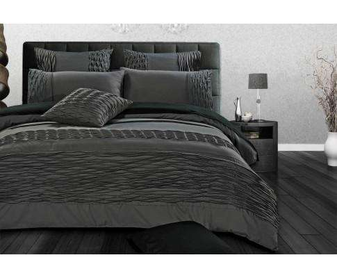 Luxton Stone Grey Pintucking Quilt Cover Set