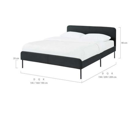 Modern Minimalist Charcoal Bed frame with Curved Head board