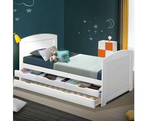 Artiss Wooden Trundle Bed Frame - White