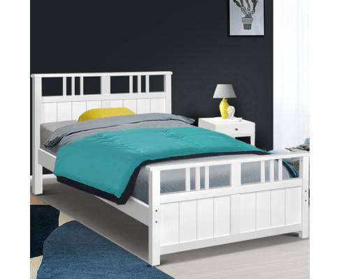 Artiss Wooden Bed Frame King Single Size Timber Kids Adults Mattress Base EVA