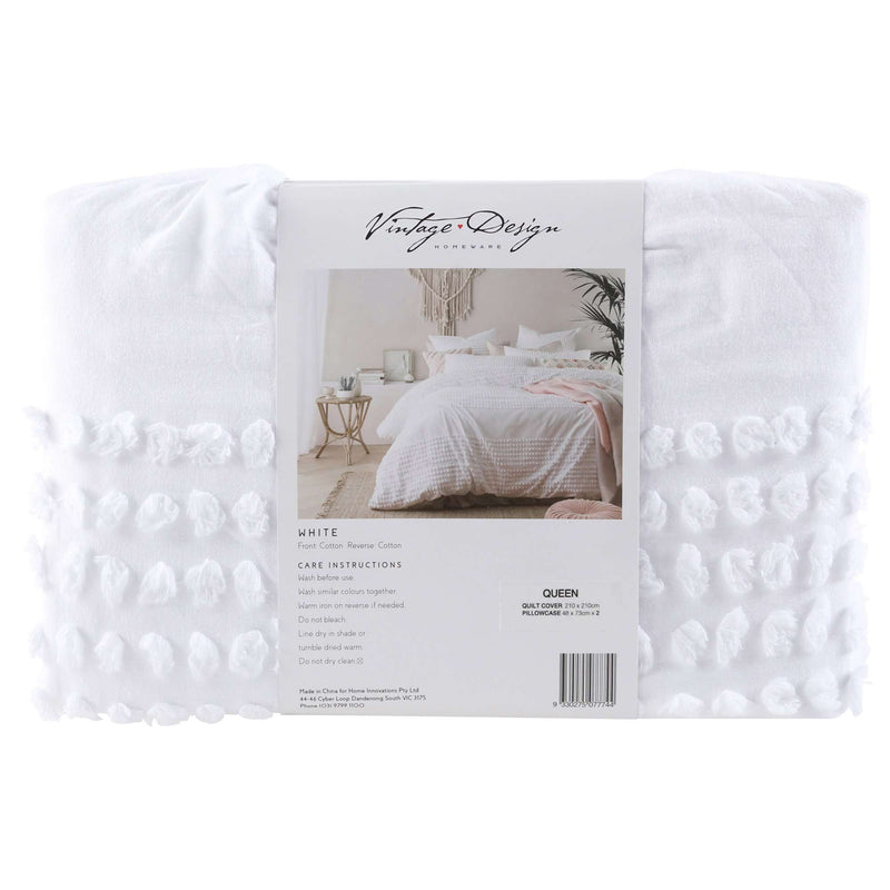 Vintage Design White Betty Cotton Quilt Cover Set