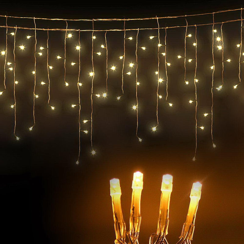 500 LED Solar Powered Christmas Icicle Lights 20M Outdoor Fairy String Party Warm White