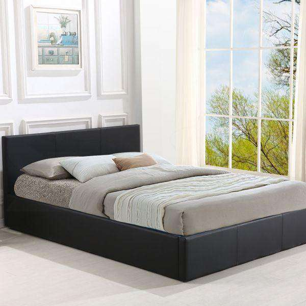 Gas Lift Storage Bed Frame Premium Leather - Black