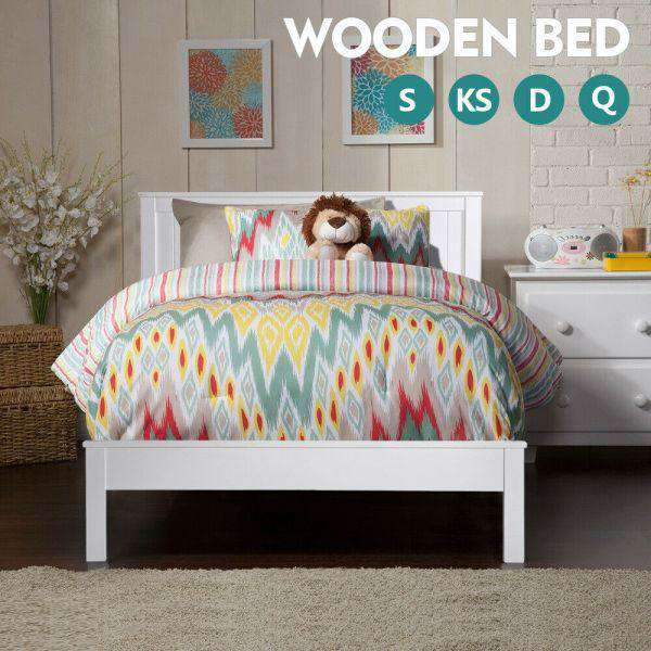PREMIUM WHITE PINE WOOD BED FRAME