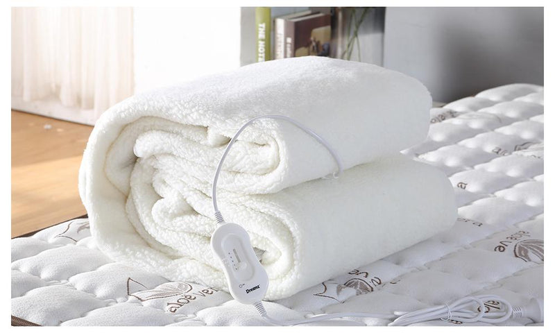 2x DreamZ 450 GSM Fleecy Electric Blanket Heated Warm Winter Fitted Double Size