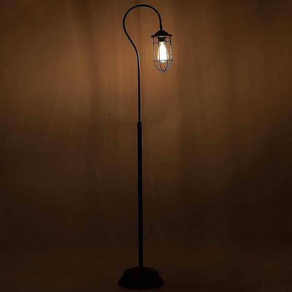 Industrial Floor Lamp with Adjustable Cage Shade in Bronze Finish