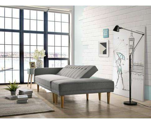 Fabric Sofa Bed with Ottoman - Light Grey