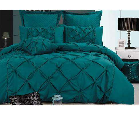 Luxton Teal Diamond Pintuck Quilt Cover Set