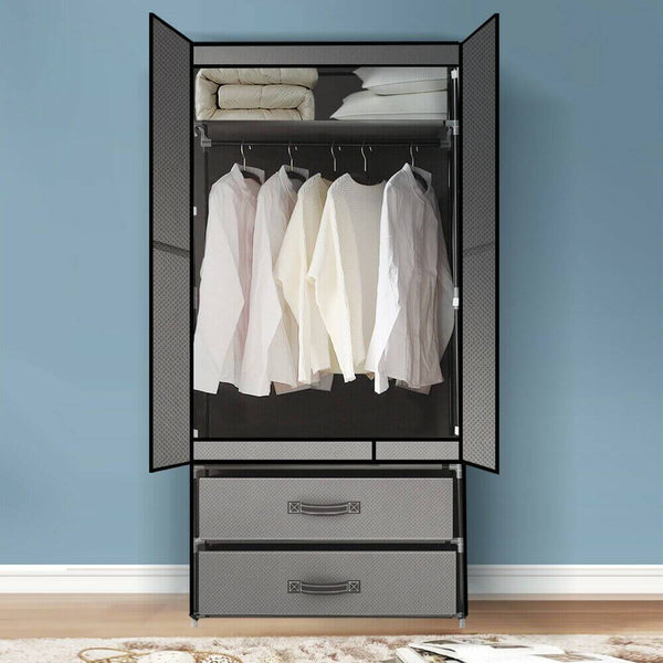 Portable Wardrobe Clothes Closet Storage Cabinet Organiser Unit Shelf