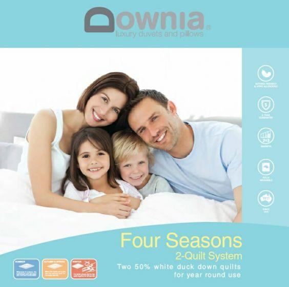 Downia Four Seasons White Duck Down - 2 Quilt System