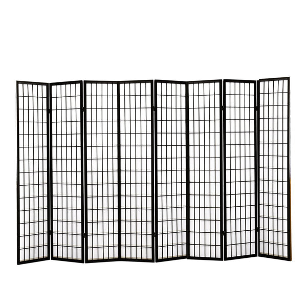 8 Panel Free Standing Foldable  Room Divider Privacy Screen Black Frame