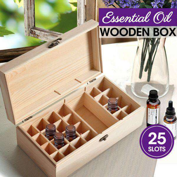 ESSENTIAL OIL STORAGE BOX WOODEN 25 SLOTS AROMATHERAPY CONTAINER ORGANISER