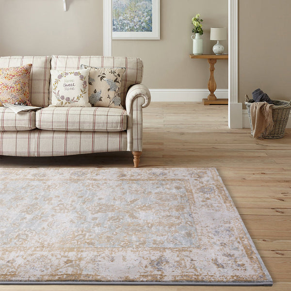 Traditional Distressed Vintage Damask Floor Rug, Gold Beige Modern Weave- Rugaustralia