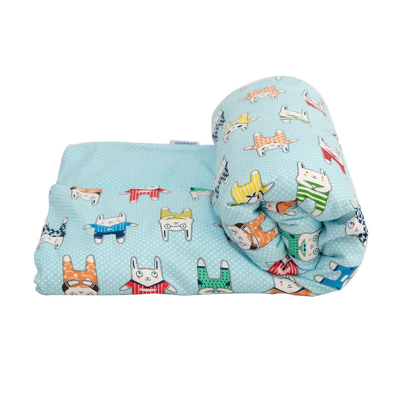 142x105cm Kids Cotton Weighted Blanket Lap Pad Cartoon Print Cover Blue
