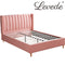 Bed Frame Velvet Base Bedhead Headboard Queen Size Wooden Platform Pink