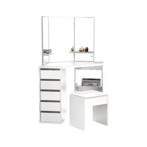 Dressing Table Stool Mirror Jewellery Organiser Makeup Cabinet 5 Drawers White