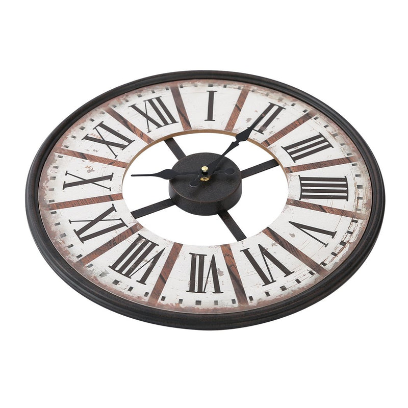 Vintage Chic Wooden Shabby Large Wall Clock Art Round Oversized Digital French