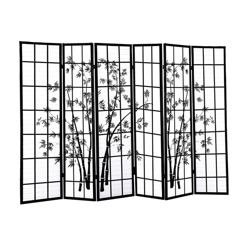 Levede 6 Panel Free Standing Foldable  Room Divider Privacy Screen Bamboo Print