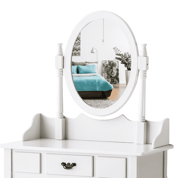 DRESSING TABLE STOOL MIRROR MAKEUP JEWELLERY ORGANIZER DRAWER CABINET