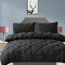 Diamond Pintuck Duvet Cover Pillow Case Set in King Size in Black